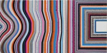 Anna Ostoya, Transposition I, 2013. Archival pigment print, acrylic, shellac, paper and palladium leaf on canvas, 100 x 200 cm. Courtesy the artist and Bortolami Gallery, New York