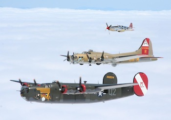 Photo of the Collings Foundation B-24, B-17 and TP-51C. Collings Foundation photo.