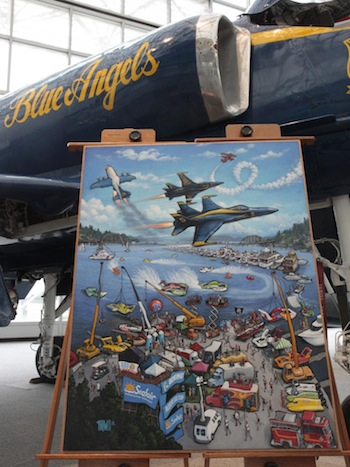 Photo of the Seafair 65th Anniversary painting next to The Museum of Flight's Douglas A-4 Blue Angel.