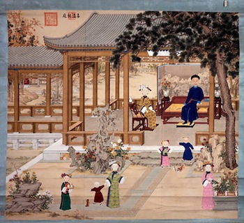 Emperor Daoguang Enjoying an Autumn Day in the Garden Anonymous court painter Ink and colour on silk Qing dynasty, 19th century The Palace Museum, Gu6564 © The Palace Museum.