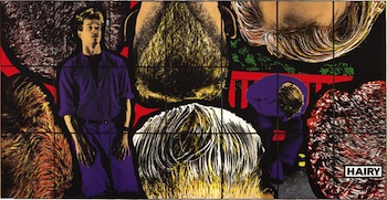 Gilbert & George, HAIRY, 1989. 21 hand-dyed photos, in metal frames, 226 x 444 cm overall.