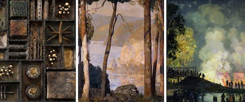From L to R) Detail from Paul Evans, Wall Collage, 1970 Detail from Daniel Garber, A Wooded Watershed, 1926 Detail from Edward W. Redfield, The Burning of Center Bridge, 1923