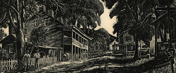Herbert Stewart Pullinger (1878-1961), Village Hotel (Lumberville, Bucks County, PA), wood engraving on paper, H. 9 5/8 x W. 11 3/4 in., James A. Michener Art Museum. Gift of Ann and Martin Snyder