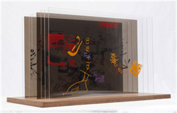 [con] text The art of language, from stone reliefs to Plexiglas