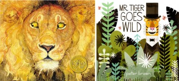 """""""The Lion and the Mouse"""" (left) by Jerry Pinkney was winner of the first Bull-Bransom Award in 2010. """"Mr Tiger Goes Wild"""" (right) by Peter Brown was the 2014 winner."""