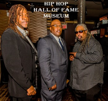 Hip Hop Hall of Fame Team of Easy AD, Chairman JT Thompson, and DJ Lord Yoda X