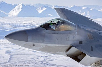 F-22 Raptor photographed by John Dibbs. Note the Seattle Seahawks flag in the cockpit of the plane.  Photo credit: John M. Dibbs