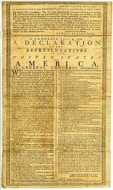 Holt broadside printing of the Declaration of Independence
