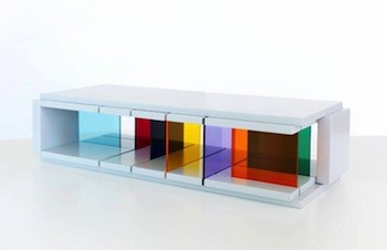 Liam Gillick, Recessed Discussion Stream, 2015. Plexiglas and MDF, 20 in. x 8 in. x 5 in. Edition of 30.