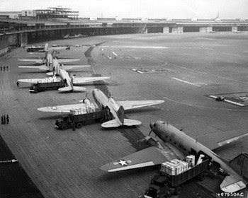 U.S. Navy and Air Force aircraft at Tempelhof Airport during the Berlin Airlift operations. U.S. Air Force photo.