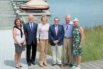 On June 15, the Chesapeake Bay Maritime Museum's Board of Governors hosted its Annual Meeting, which included electing a new executive committee and board members. Elected this year, includes from left: Board member Debbie Lawrence, Vice Chair/Treasurer James P. Harris, Officer-at-Large Diane Staley, Chairman Richard C. Tilghman, Jr., Board member Donald Martin, and CBMM President Kristen Greenaway. Not pictured: Secretary Richard J. Bodorff, Treasurer-elect Richard Snowdon, Board members Robert N. Hockaday, Jr., Leeds Hackett, and Charles Robertson. Governors elected to serve a second term included Schuyler Benson, Fred Israel, Frank C. Marshall, and Diane J. Staley.