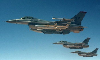 A formation of three U.S. Air Force F-16 Wild Weasels. USAF photo.