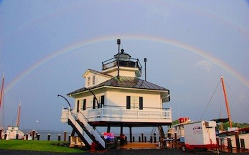 The Chesapeake Bay Maritime Museum's 1879 Hooper Strait Lighthouse, shown here under a double rainbow.