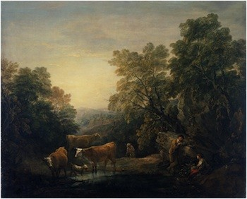 Thomas Gainsborough, Rocky Wooded Landscape with Rustic Lovers, Herdsman, and Cows, 1771–74. Oil on canvas, 48 7/8 x 58 3/4 in. National Museum Wales (NMW A 22780). Courtesy American Federation of Arts