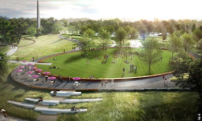 The Civitas design for the under-construction Museum Park expansion for the North Carolina Museum of Art includes an elliptical central lawn for special programming (image courtesy of Civitas).