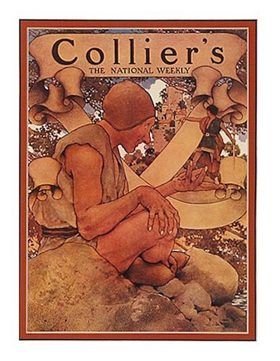"""Maxfield Parrish (1870-1966), Jack and the Giant, 1908, oil on paper, 22"""" x 16"""", signed and dated lower left, also Collier's Magazine, July 30, 1910, (c) Copyright 2015 National Museum of American Illustration, Newport, RI, Photos courtesy Archives of American Illustrators Gallery, New York, NY"""