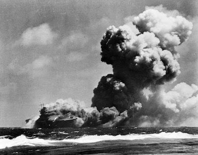 USS Wasp burning, 1942. United States Library of Congress photo.