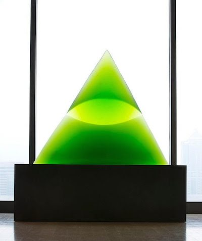 Stanislav Libenský (Czech, 1921-2002), Jaroslava Brychtová (Czech, born 1924), Green Eye of the Pyramid III, 1993-94. Mold-melted and cut glass, 33 × 40 × 8 inches. Tacoma Art Museum, Promised Gift of the Rebecca and Jack Benaroya Collection. Photo © TAM, photo by Russell Johnson and Jeff Curtis