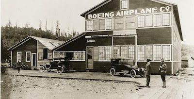 The original Boeing manufacturing plant, circa 1916. The building now exists at The Museum of Flight. Photo The Boeing Company collection at The Museum of Flight.