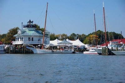The Chesapeake Bay Maritime Museum in St. Michaels, Md., as seen here from the Miles River.