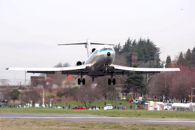 Boeing 727 prototype on its final flight, just before landing at Boeing Field on March 2, 2016. Francis Zera/The Museum of Flight, Seattle