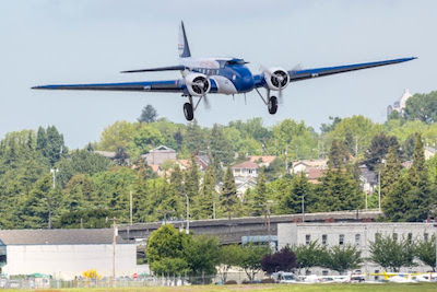 The Museum's Boeing 247D as it was about to land at Boeing Field. Francis Zera/Museum of Flight photo.