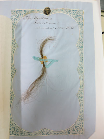A lock of hair from President John Adams is part of Presidential Archives: Letters, Hair, and Fossils on view in July 2016 at the Academy of Natural Sciences of Drexel University.