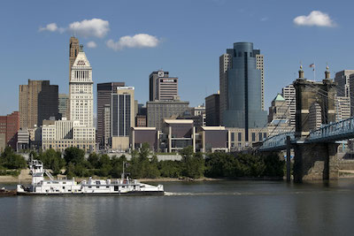 National Underground Railroad Freedom Center and the Cincinnati skyline