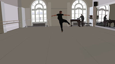 Tonya (working title), 2016. Still from digital animation based on dance performance, 3 video channels, approx. 4 min. Part of In That Case: Havruta in Contemporary Art, a collaboration between artist Kota Ezawa and dancer James Kirby Rogers, 2016, Commissioned for installation at The Contemporary Jewish Museum, San Francisco.