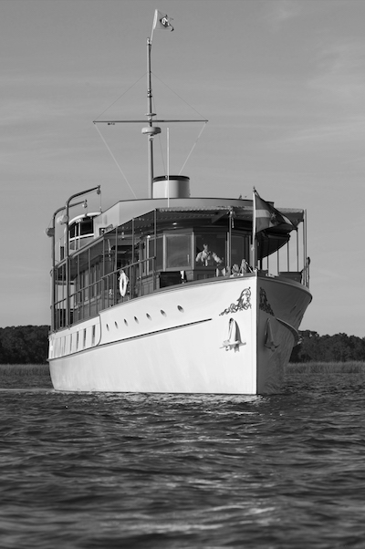 """Freedom"", a 104 ft fantail motor yacht designed by John Trumpy and built in 1926 by Mathis Yacht Building Company in Camden, NJ"