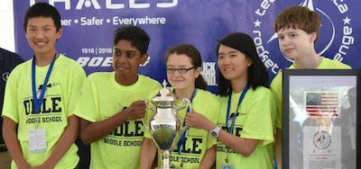 Odle Middle School Space Potatoes team at Team America Rocketry Challenge National Competition. Photo Odle Middle School, Bellevue, Wash.
