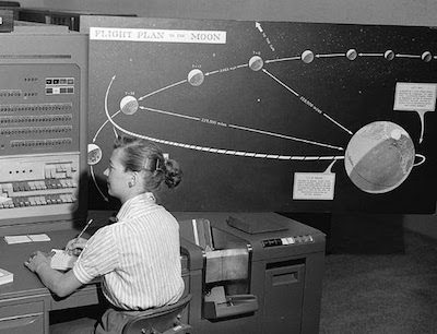 "Woman at NASA JPL with IBM computer tracking lunar missions, 1959. NASA/JPL image from ""Rise of the Rocket Girls."""