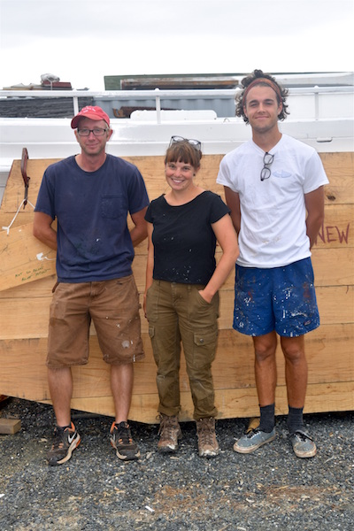From left, Michael Allen, Lauren Gaunt, and Spencer Sherwood, three shipwrights apprentices who have joined the Chesapeake Bay Maritime Museum