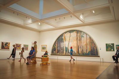 A Wooded Watershed, a 22-foot mural by Daniel Garber on view at the Michener Art Museum, is the largest gigapixel painting captured to date with the Google Art Camera.