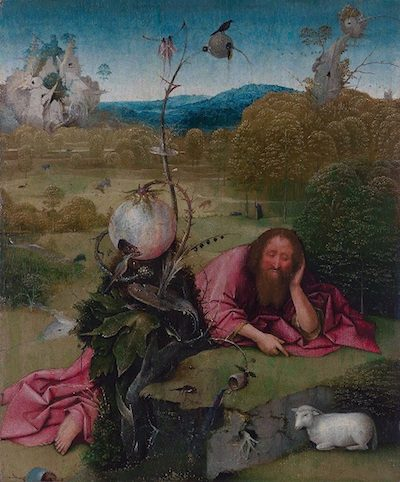Hieronymous Bosch, Saint John the Baptist in the Wilderness, c. 1489, oil on panel, 19.1 x 16 inches, Museo Lázaro Galdiano, Madrid, Spain