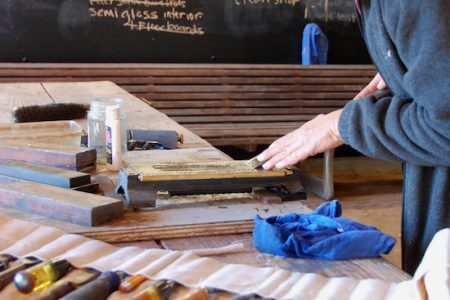 Woodworker's tool-sharpening workshop at the Chesapeake Bay Maritime Museum