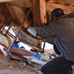 Chesapeake Bay Maritime Museum shipwrights combine hull, topsides of bugeye Edna Lockwood